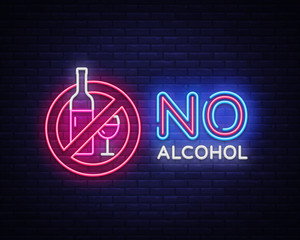 No Alcohol neon sign vector. Ban Alcohol Design template neon sign, light banner, neon signboard, nightly bright advertising, light inscription. Vector illustration