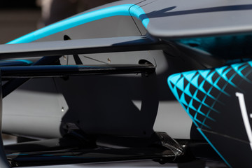 Rome, Italy 2019, March 30th. E-Prix, Formula E. Details of hihg speed electric racing car, carbon and fibreglass textures, blue paint. Extreme sports, design concept, automotive luxury games.