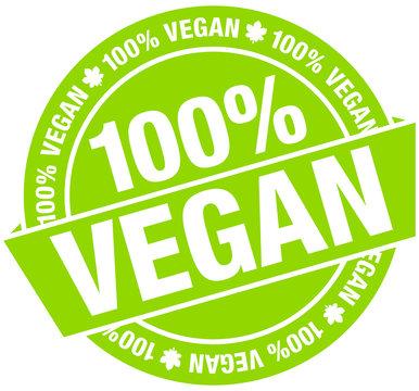 """Button Banner """"100% Vegan"""" Grün Flat"""