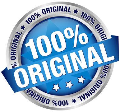 "Button ""100% Original"" Banner Blau/Silber"
