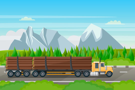 Forestry transportation industry, vector flat illustration. Logging truck with wood timber rides on forest road
