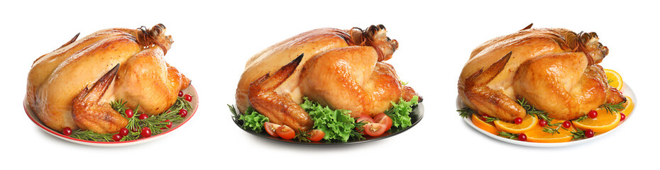 Set of delicious roasted turkey on plates against white background