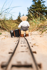 Journey with Luggage at Rails / Teddy bear with suitcase travels alone along abandoned railroad track at dune landscape (copy space)