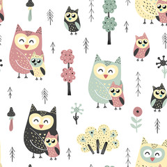 Seamless pattern with cute owls - mother and baby. Forest vector illustration