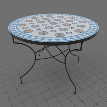 Moroccan round mosaic table