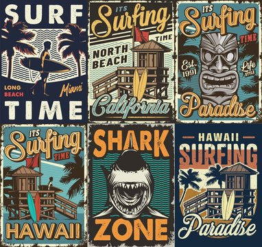 Vintage colorful surfing posters set