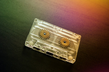 Audio cassettes for vintage recorder beckground colorful