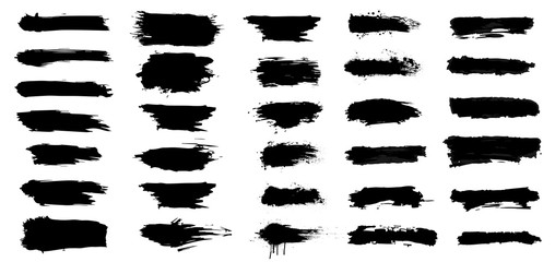 Fotobehang - Set of brush strokes, Black ink grunge brush strokes.Black inked splatter, dirt stain. Ink strokes with drops blots. Isolated grunge silhouette set. Vector illustration.
