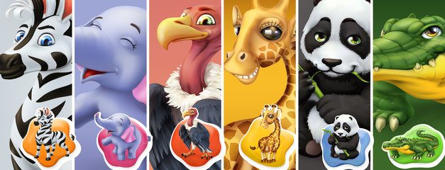 Wild animals. Zebra, elephant, vulture, giraffe, panda, crocodile. 3d vector icon set