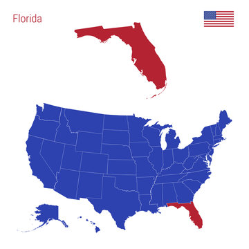 The State of Florida is Highlighted in Red. Vector Map of the United States Divided into Separate States.