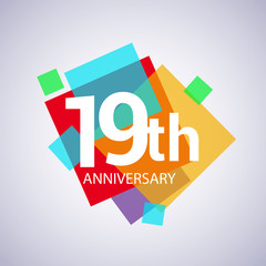 19th anniversary logo, vector design birthday celebration with colorful geometric isolated on white background.