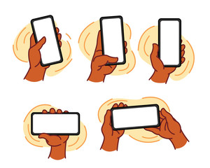 Hands Holding Mobile Devices, Warm