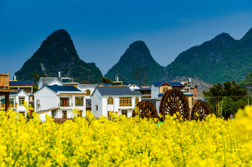 Self adhesive Wall Murals Yellow Village in the mountains