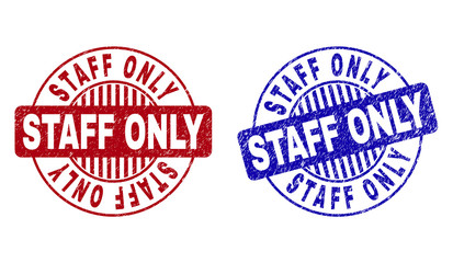 Grunge STAFF ONLY round stamp seals isolated on a white background. Round seals with distress texture in red and blue colors. Wall mural