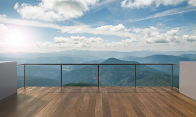 Balcony view of  mountains. Landscape. Sunny Day. Terrace with a beautiful view. Background with beautiful landscape. Fototapete