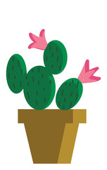 Painting of a cactus plants that looks similar to a Mickey and Minnie Mouse vector color drawing or illustration