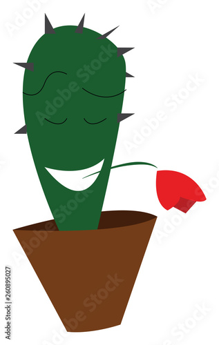 A Romantic Cactus Plant Emoji With Closed Eyes And Mouth Wide Opened