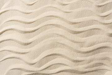 top view of textured background with sand and smooth waves Wall mural
