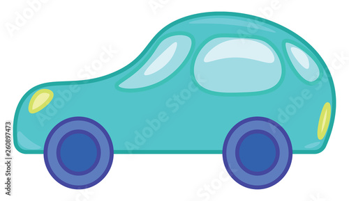 Clipart Of A Toy Motor Car In Blue Color Vector Color Drawing Or