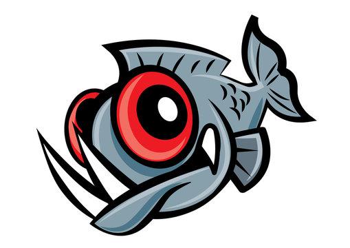 Cute piranha fish character mascot - vector