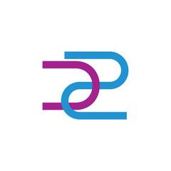 letters u2 simple line geometric logo vector
