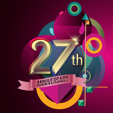 27th Anniversary, Party poster, banner and invitation - background geometric glowing element. Vector Illustration