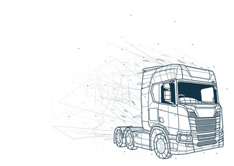 Abstract Truck from Low Poly Wireframe Isolated on White Background - Polygonal Image Mash Line Structure, Vector Illustration