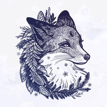 A fox with a wreath of coniferous forest plants. Dreamy magic art. Night, nature, wicca symbol. Isolated vector illustration. Great outdoors, tattoo and t-shirt design.