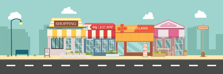 City street and store buildings vector illustration, a flat style design.Business storefront in urban.Public store on main street.Urban scene in midday