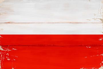 Obraz Flaga Polski namalowana na desce - fototapety do salonu
