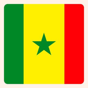 Senegal square flag button, social media communication sign, business icon.
