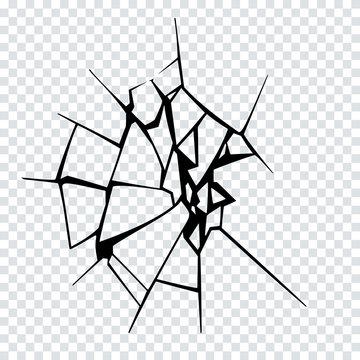 Vector Illustration of Broken Surface. Crack Silhouette