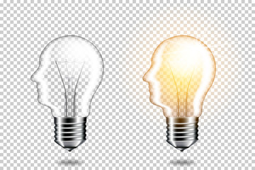 Wall Mural - Set of realistic transparent light bulb with head, isolated.