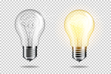 Wall Mural - Set of realistic transparent light bulb with brain, isolated.