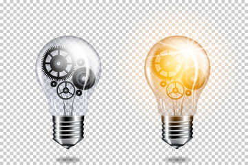 Wall Mural - Set of realistic transparent light bulb with cogwheels, isolated.