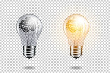 Wall Mural - Set of realistic transparent light bulb with cogwheels brain, isolated.