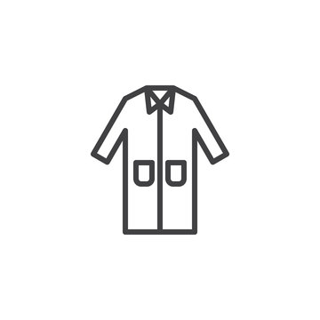 Laboratory coat line icon. Protection wear linear style sign for mobile concept and web design. Medical lab coat uniform outline vector icon. Symbol, logo illustration. Pixel perfect vector graphics