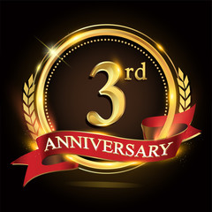 3rd golden anniversary logo, with shiny ring and red ribbon, laurel wreath isolated on black background, vector design for birthday celebration.
