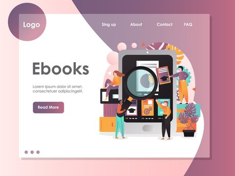 Ebooks vector website landing page design template