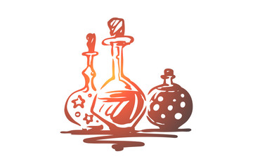 Poison, Halloween, glass, potion, holiday concept. Hand drawn isolated vector.