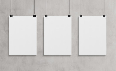 Three white poster hanging mockup 3d rendering