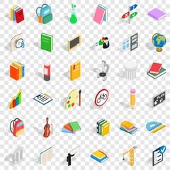 Education icons set. Isometric style of 36 education vector icons for web for any design