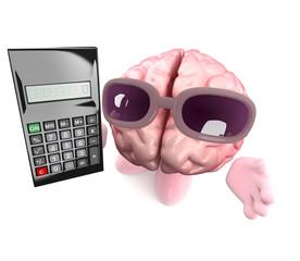 Funny cartoon 3d human brain character holding a digital calculator