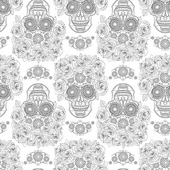 black and white seamless pattern with the image of a skull, the symbol of the traditional Mexican holiday day of the dead and Day of angels