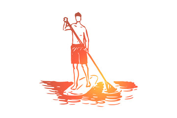 Sport, water, paddle, stand, sup concept. Hand drawn isolated vector.