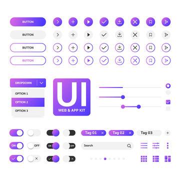 UI kit web & application violet gradient template, flat design