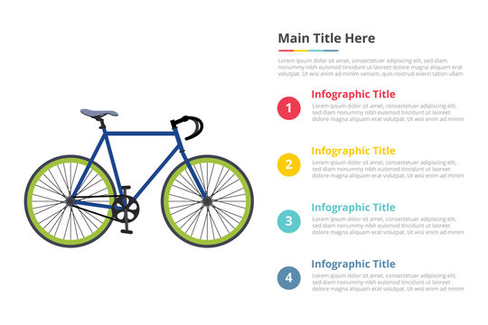 bicycle sport speed infographics template with 4 points of free space text description - vector