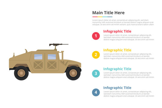 humvee military infographics template with 4 points of free space text description - vector