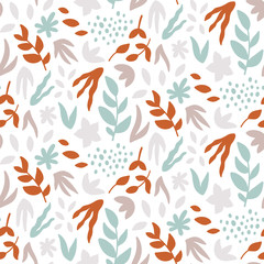 Seamless pattern with leaves. Abstract print with hand drawn plants. Vector design template.