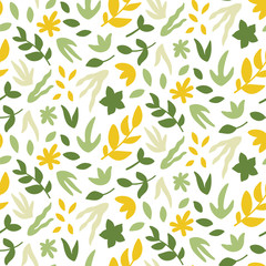 Seamless pattern with leaves. Bright spring print with hand drawn plants. Vector design template.